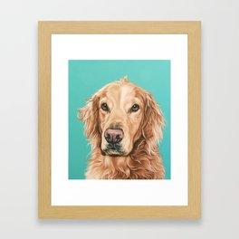 Handsome Golden Retriever Painting, Golden Retriever Portrait, Stately Golden Retriever Dog Art Framed Art Print