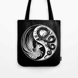 White and Black Dragon Phoenix Yin Yang Tote Bag