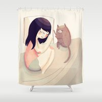 best friends Shower Curtains featuring Best Friends by Nan Lawson