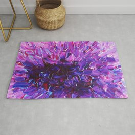 LOTUS BLOSSUM - Beautiful Purple Floral Abstract, Modern Decor in Eggplant Plum Lavender Lilac Rug