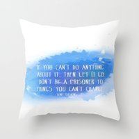 let it go Throw Pillows featuring Let Go by Shereen Yap