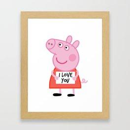 Peppa pig  i love u Framed Art Print
