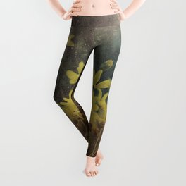 Abstract Yellow Daisies Leggings