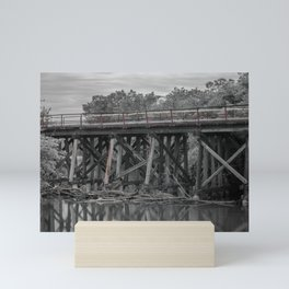 Log Jam at Wooden Trestle Bridge Mini Art Print