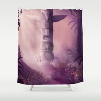 totem Shower Curtains featuring Totem by Ramona Treffers