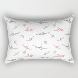 Colorful Plane Sketches Rectangular Pillow