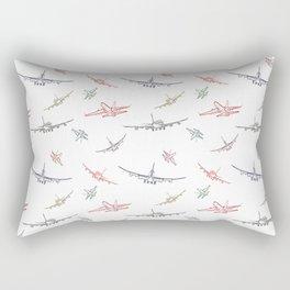 Colorful Plane Sketches Rectangular Pillow