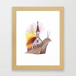 Burning church Framed Art Print