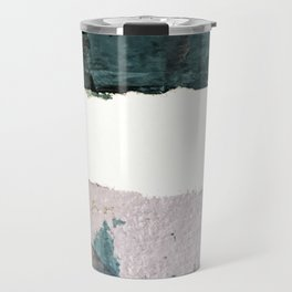 Between Us: a minimal, abstract mixed-media piece in blues, muted purple, and pinks Travel Mug