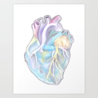 anatomical heart Art Prints featuring Anatomical heart. by Toneya Ashby
