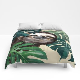 Sneaky Sloth with Monstera Comforters
