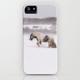 Lonely horse in the snow iPhone Case