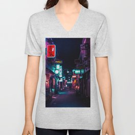 Late Night in Shinjuku's Golden Gai Unisex V-Neck