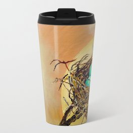 Blue Robin Eggs in a Nest on a Tree Branch Travel Mug