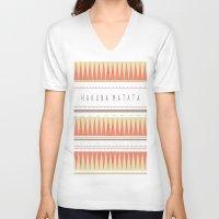 hakuna V-neck T-shirts featuring Hakuna Matata Tribal Aztec Print by Alexandra Koh