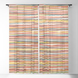 Colored Lines #1 Sheer Curtain