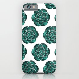 Geometry in Green Coral Color Palette | Emerald Stone colors iPhone Case