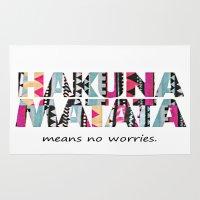 hakuna Area & Throw Rugs featuring Hakuna Matata by Amy Copp