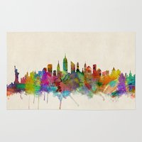 new york city Area & Throw Rugs featuring New York City Skyline by artPause