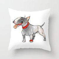 bull terrier Throw Pillows featuring Bull Terrier by Paola Canti