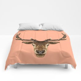 Stag Head // Peach / Apricot Comforters