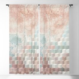 Distressed Cube Pattern - Nude, turquoise and seashell Blackout Curtain