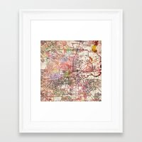 houston Framed Art Prints featuring Houston by MapMapMaps.Watercolors