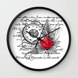 Pocket watch and rose Wall Clock