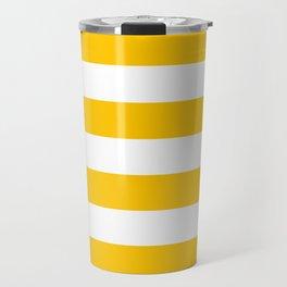Aspen Gold Yellow and White Wide Horizontal Cabana Tent Stripe Travel Mug