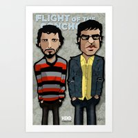 flight of the conchords Art Prints featuring Flight of the Conchords by BinaryGod.com