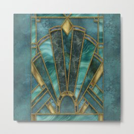 Elegant Stained Glass Art Deco Window With Marble And Gemstone Metal Print