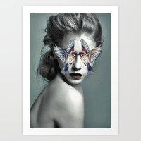 Woman With Birds Art Print
