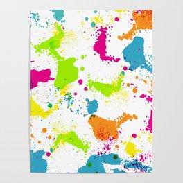 colorful paint blots Poster