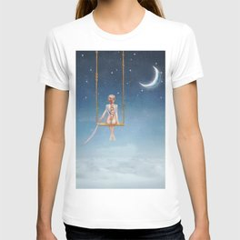 The lovely girl shakes on a swing T-shirt