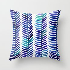 Indigo Seaweed Throw Pillow