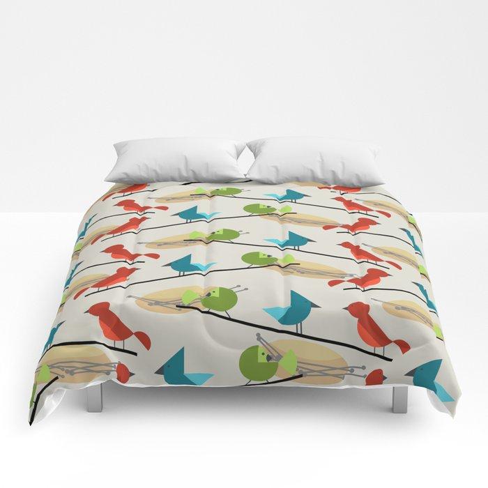 Mid Century Modern Birds Comforters