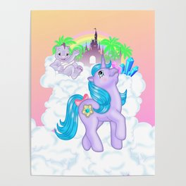 g1 my little pony Princess Amethyst and Spiny Poster