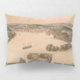 Vintage Pictorial Map of Norwich CT (1854) Pillow Sham