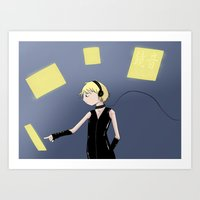 vocaloid Art Prints featuring Vocaloid - Len in control by Kitteh
