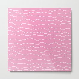 Pink with White Squiggly Lines Metal Print