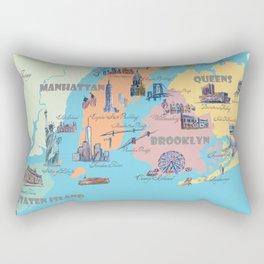 New York City Fine Art Print Retro Vintage Favorite Map with Touristic Highlights Rectangular Pillow