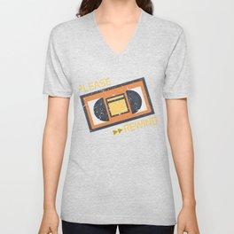 Please Rewind VHS Player Viedo Home Recorder Casette Machine Tapes Gift Unisex V-Neck