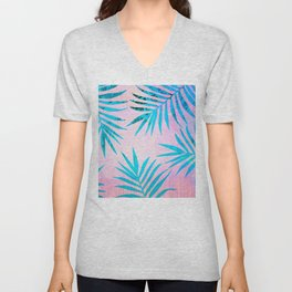 Refreshing Geometric Palm Tree Leaves Tropical Chill Design Unisex V-Neck