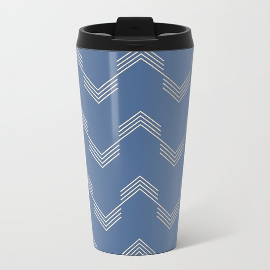 Simply Deconstructed Chevron White Gold Sands  on Aegean Blue Metal Travel Mug