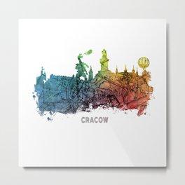 Cracow City Skyline  map #krakow #cracow Metal Print