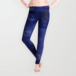 Glam Blue Faux Foil Lips Kiss Imprint Pattern Leggings