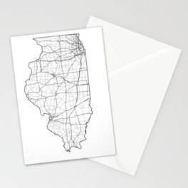 Illinois White Map Stationery Cards