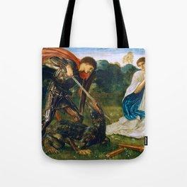 St George kills the dragon VI by Edward Burne-Jones. Tote Bag