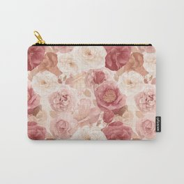 seamless   pattern with roses and leaves . Endless texture Carry-All Pouch