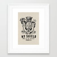 shield Framed Art Prints featuring Shield by J Evan